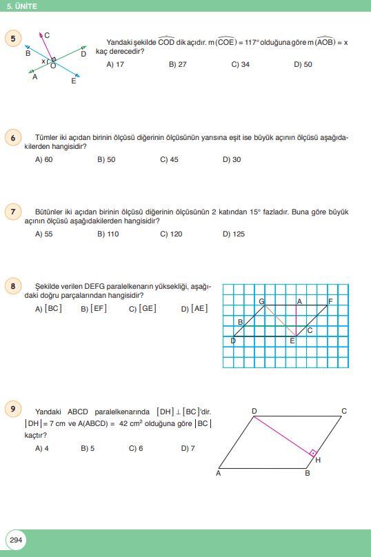 6. Sınıf Matematik Ders Kitabı Çözümleri ve Cevapları Sayfa 294 Öğün Yayınları