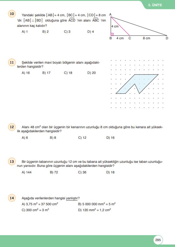 6. Sınıf Matematik Ders Kitabı Çözümleri ve Cevapları Sayfa 295 Öğün Yayınları