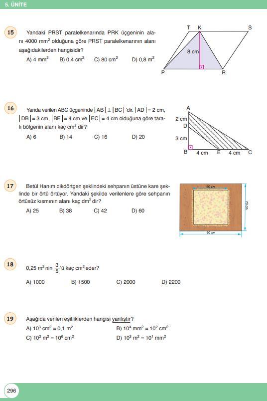 6. Sınıf Matematik Ders Kitabı Çözümleri ve Cevapları Sayfa 296 Öğün Yayınları