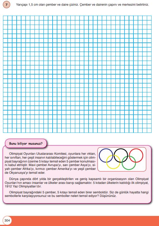 6. Sınıf Matematik Ders Kitabı Çözümleri ve Cevapları Sayfa 304 Öğün Yayınları