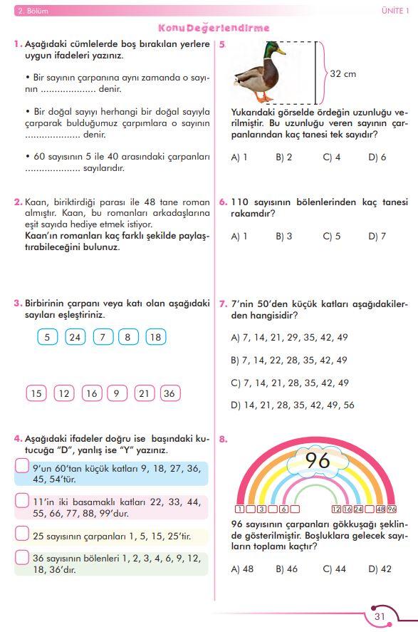 6. Sınıf Matematik Ders Kitabı Çözümleri ve Cevapları Sayfa 31 MEB Yayınları