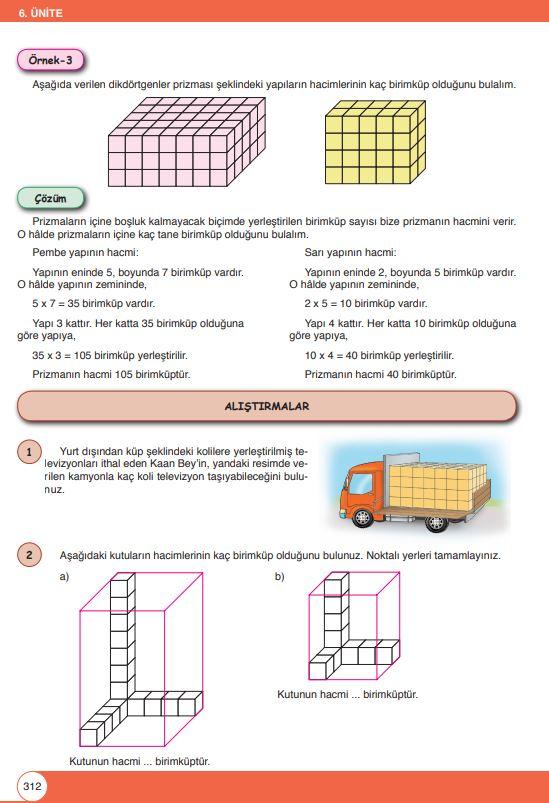 6. Sınıf Matematik Ders Kitabı Çözümleri ve Cevapları Sayfa 312 Öğün Yayınları