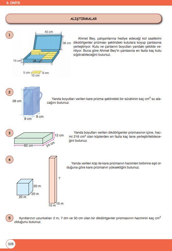 6. Sınıf Matematik Ders Kitabı Çözümleri ve Cevapları Sayfa 328 Öğün Yayınları