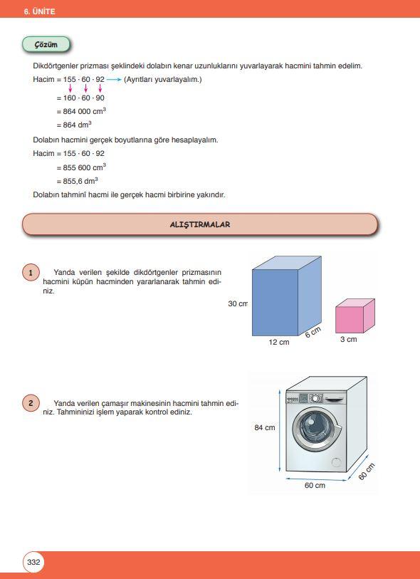 6. Sınıf Matematik Ders Kitabı Çözümleri ve Cevapları Sayfa 332 Öğün Yayınları