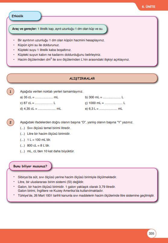 6. Sınıf Matematik Ders Kitabı Çözümleri ve Cevapları Sayfa 335 Öğün Yayınları