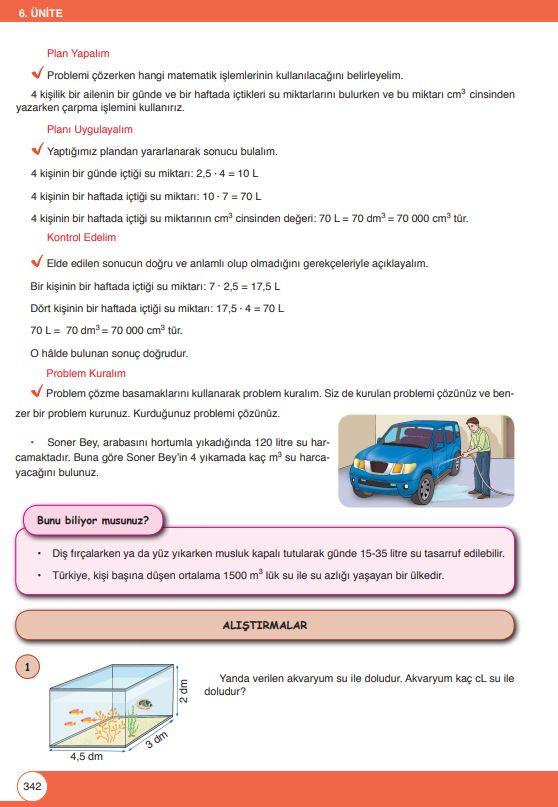 6. Sınıf Matematik Ders Kitabı Çözümleri ve Cevapları Sayfa 342 Öğün Yayınları