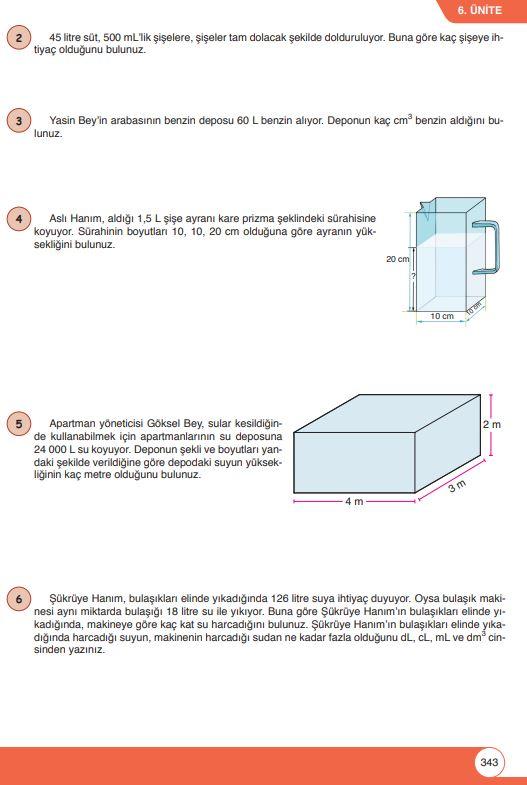 6. Sınıf Matematik Ders Kitabı Çözümleri ve Cevapları Sayfa 343 Öğün Yayınları