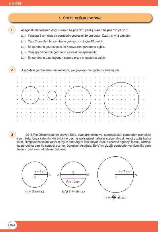 6. Sınıf Matematik Ders Kitabı Çözümleri ve Cevapları Sayfa 344 Öğün Yayınları
