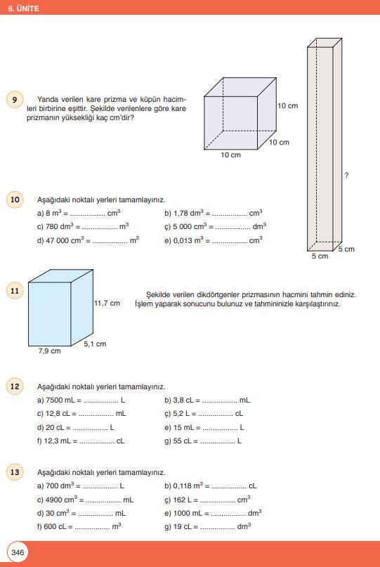 6. Sınıf Matematik Ders Kitabı Çözümleri ve Cevapları Sayfa 346 Öğün Yayınları