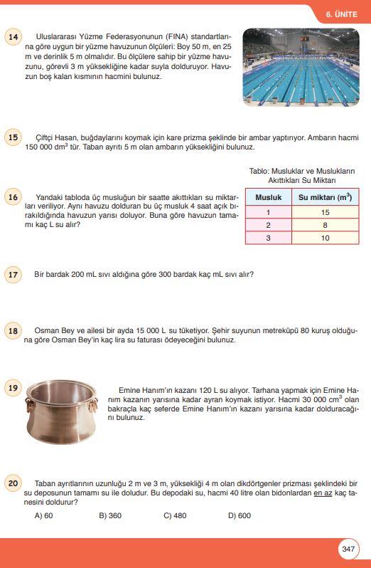 6. Sınıf Matematik Ders Kitabı Çözümleri ve Cevapları Sayfa 347 Öğün Yayınları