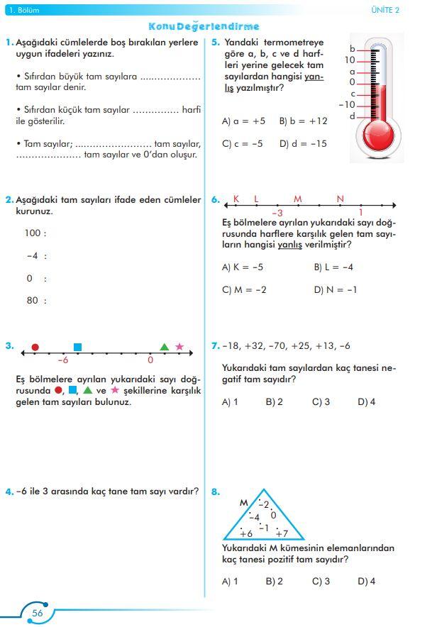 6. Sınıf Matematik Ders Kitabı Çözümleri ve Cevapları Sayfa 56 MEB Yayınları