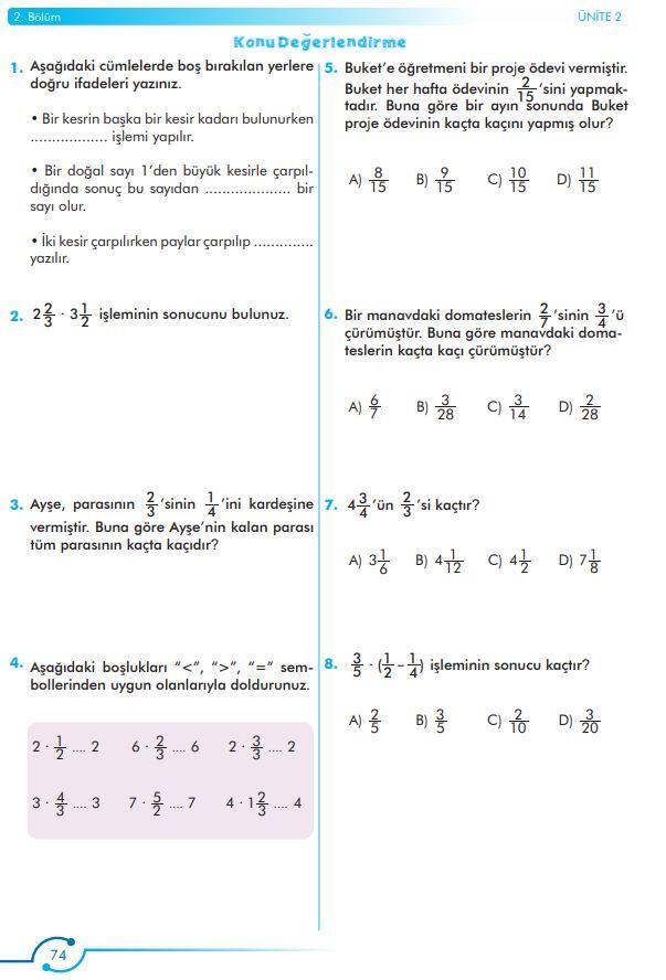6. Sınıf Matematik Ders Kitabı Çözümleri ve Cevapları Sayfa 74 MEB Yayınları