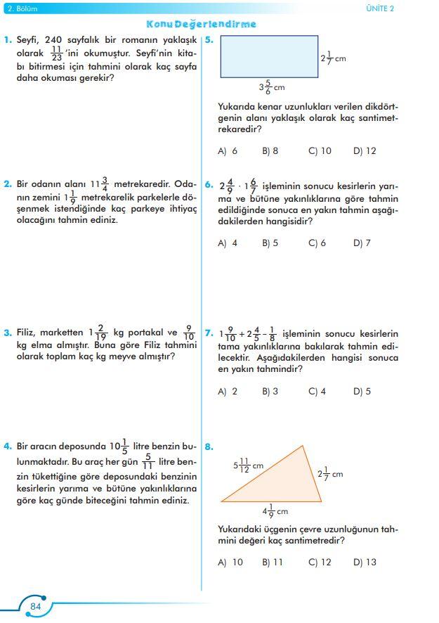 6. Sınıf Matematik Ders Kitabı Çözümleri ve Cevapları Sayfa 84 MEB Yayınları