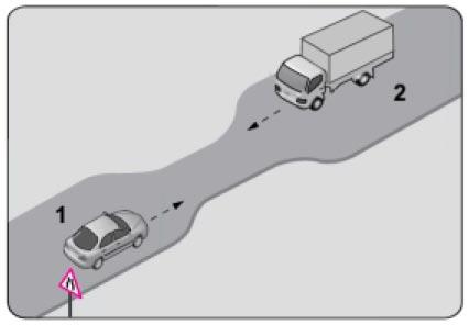 Eğimli iki yönlü dar yollarda karşılaşan araç sürücüleri için aşağıdakilerden hangisi doğrudur?