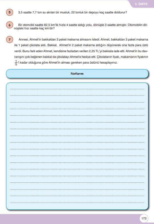 6. Sınıf Matematik Ders Kitabı Çözümleri ve Cevapları Sayfa 173 Öğün Yayınları
