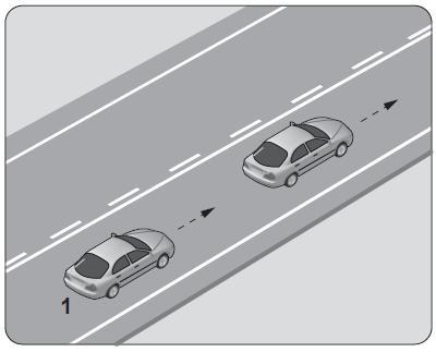 Şekildeki 1 numaralı araç 80 km saat hızla seyrederken önündeki araca en fazla kaç metre yaklaşabilir