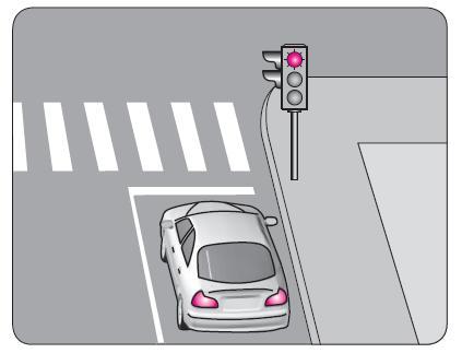 Şekildeki aracın yoluna devam edebilmesi için, ışıklı trafik işaret cihazında yanan ışığın rengi ne olmalıdır