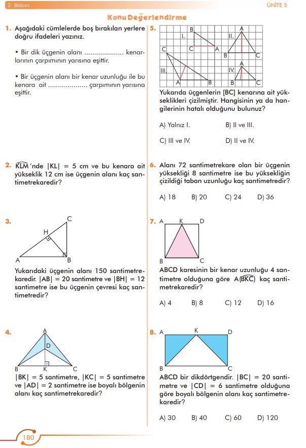6. Sınıf Matematik Ders Kitabı Çözümleri ve Cevapları Sayfa 180 MEB Yayınları