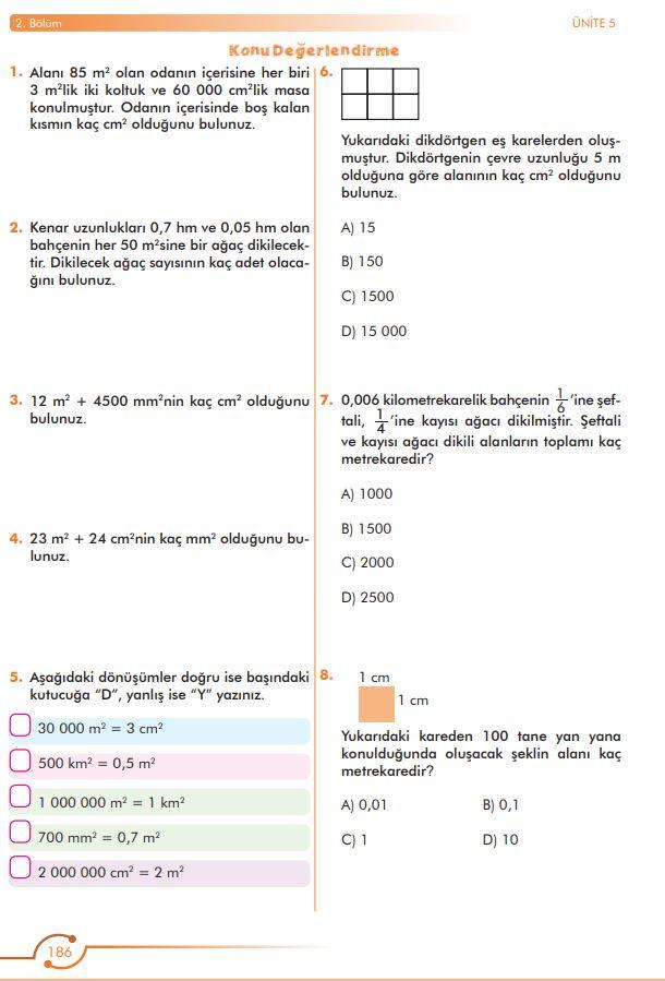6. Sınıf Matematik Ders Kitabı Çözümleri ve Cevapları Sayfa 186 MEB Yayınları