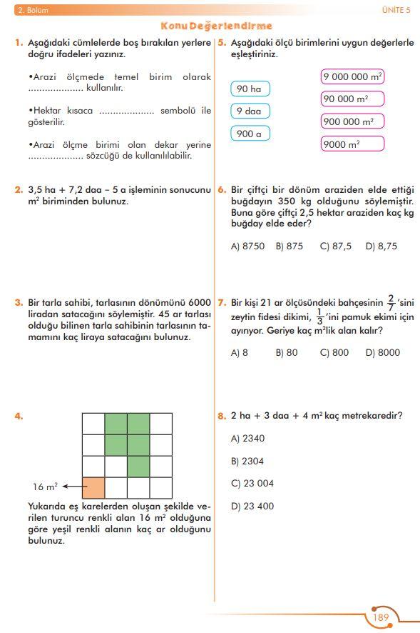 6. Sınıf Matematik Ders Kitabı Çözümleri ve Cevapları Sayfa 189 MEB Yayınları