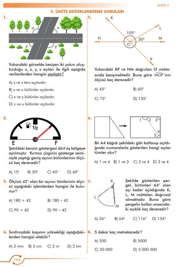 6. Sınıf Matematik Ders Kitabı Çözümleri ve Cevapları Sayfa 194 MEB Yayınları