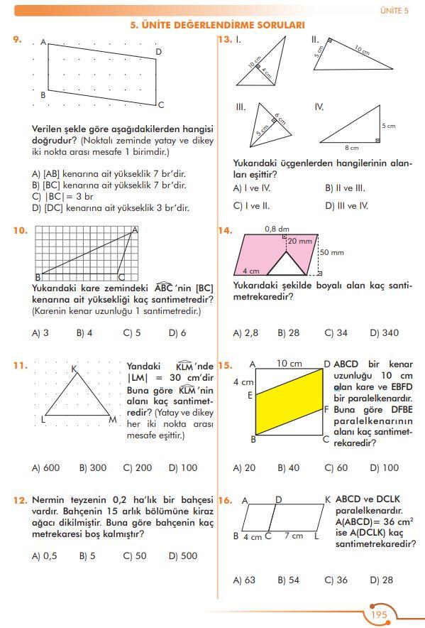 6. Sınıf Matematik Ders Kitabı Çözümleri ve Cevapları Sayfa 195 MEB Yayınları