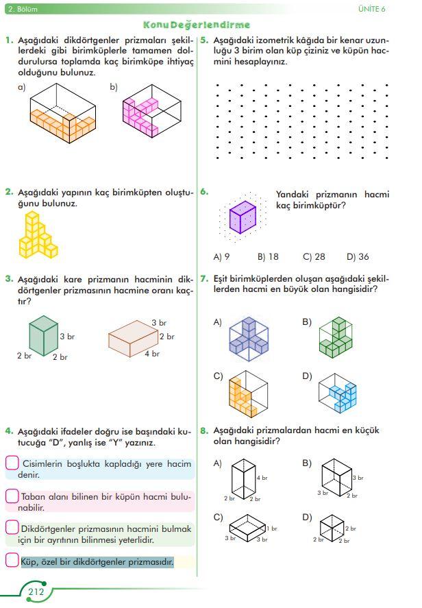 6. Sınıf Matematik Ders Kitabı Çözümleri ve Cevapları Sayfa 212 MEB Yayınları