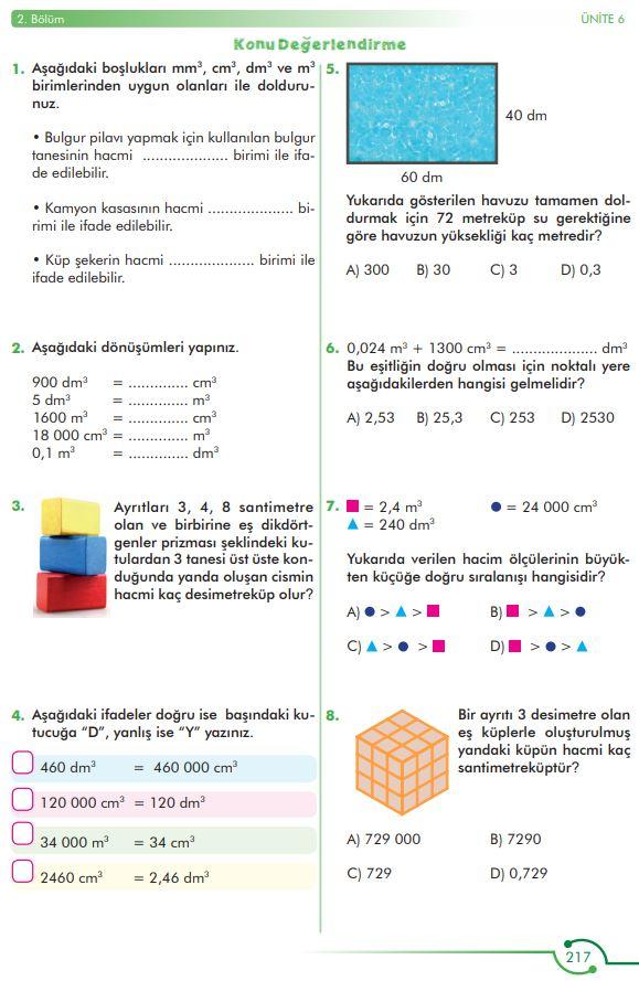 6. Sınıf Matematik Ders Kitabı Çözümleri ve Cevapları Sayfa 217 MEB Yayınları