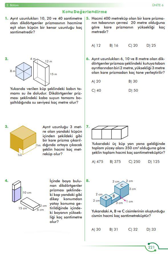 6. Sınıf Matematik Ders Kitabı Çözümleri ve Cevapları Sayfa 221 MEB Yayınları