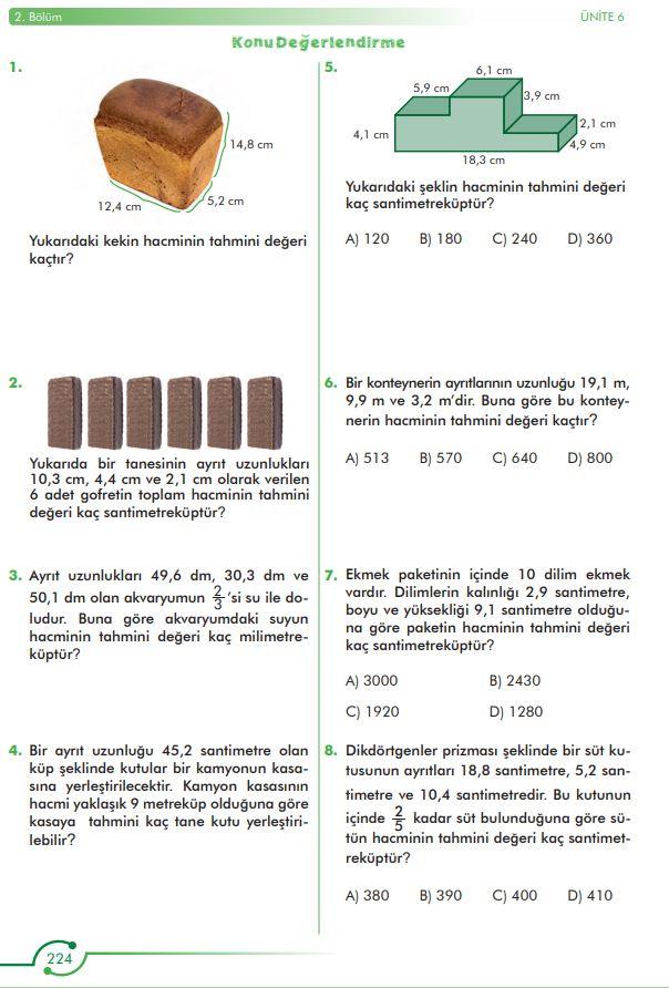 6. Sınıf Matematik Ders Kitabı Çözümleri ve Cevapları Sayfa 224 MEB Yayınları