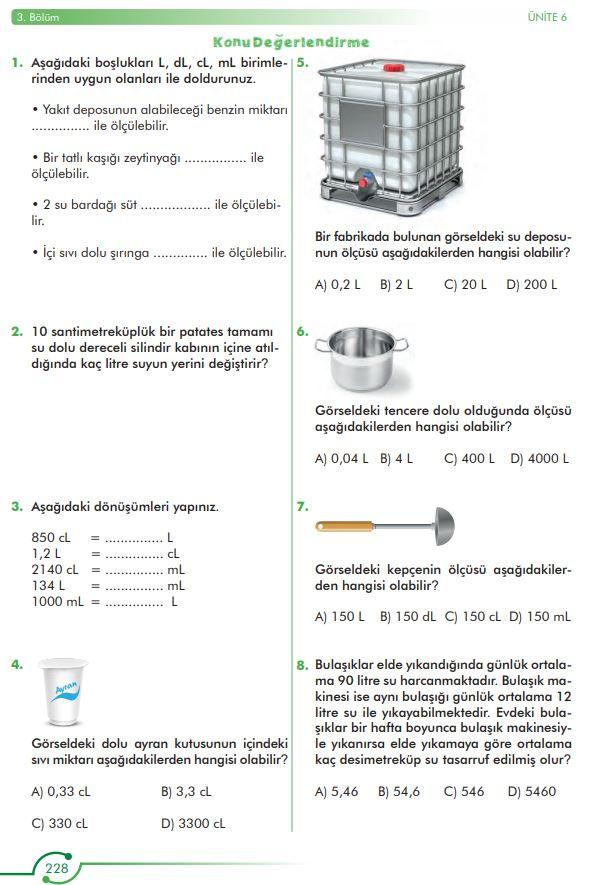 6. Sınıf Matematik Ders Kitabı Çözümleri ve Cevapları Sayfa 228 MEB Yayınları