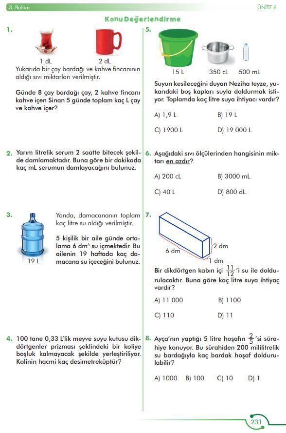 6. Sınıf Matematik Ders Kitabı Çözümleri ve Cevapları Sayfa 231 MEB Yayınları