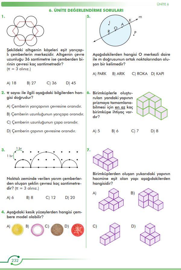 6. Sınıf Matematik Ders Kitabı Çözümleri ve Cevapları Sayfa 232 MEB Yayınları