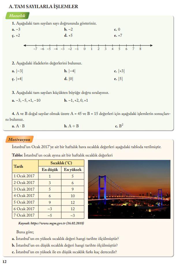 7. Sınıf Matematik Ders Kitabı Çözümleri ve Cevapları Sayfa 12 Ekoyay Yayınları