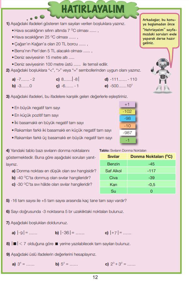 7. Sınıf Matematik Ders Kitabı Çözümleri ve Cevapları Sayfa 12 MEB Yayınları