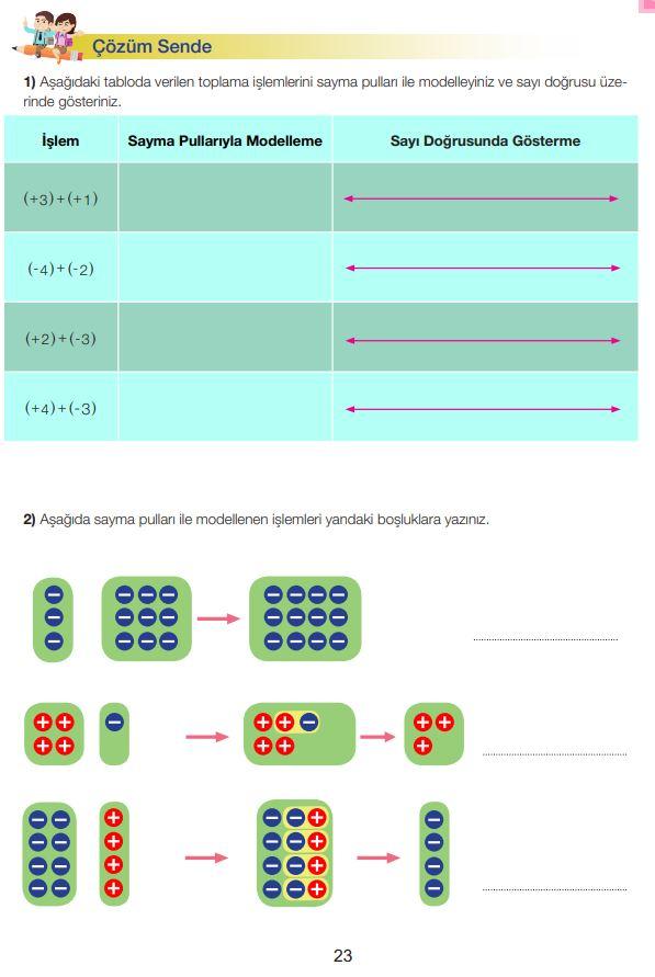 7. Sınıf Matematik Ders Kitabı Çözümleri ve Cevapları Sayfa 23 MEB Yayınları