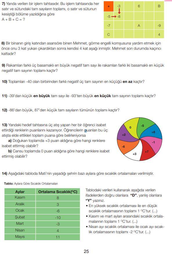 7. Sınıf Matematik Ders Kitabı Çözümleri ve Cevapları Sayfa 25 MEB Yayınları
