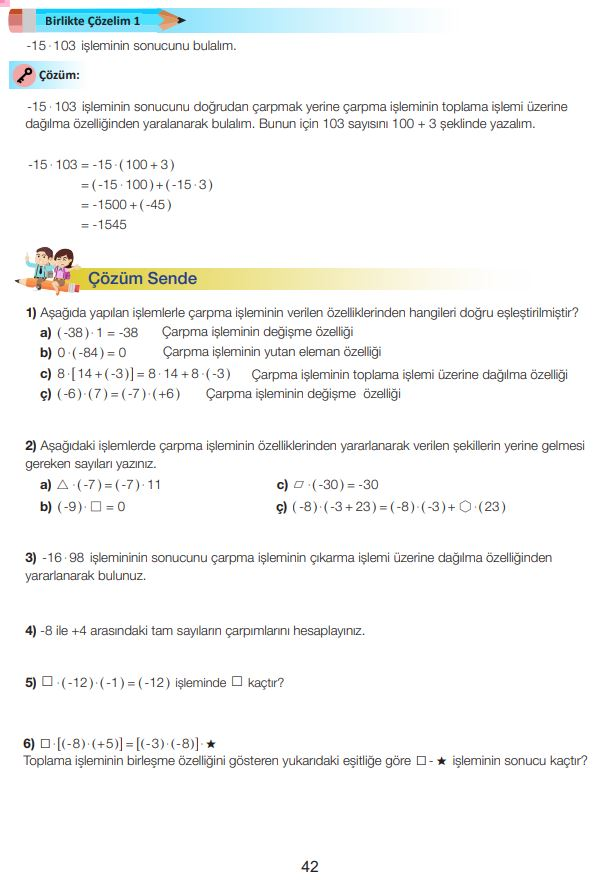 7. Sınıf Matematik Ders Kitabı Çözümleri ve Cevapları Sayfa 42 MEB Yayınları