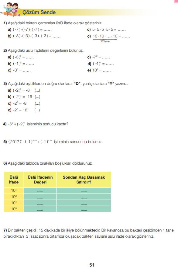 7. Sınıf Matematik Ders Kitabı Çözümleri ve Cevapları Sayfa 51 MEB Yayınları