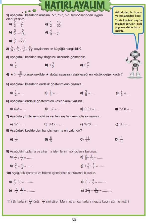 7. Sınıf Matematik Ders Kitabı Çözümleri ve Cevapları Sayfa 60 MEB Yayınları