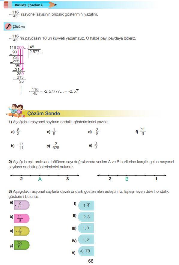 7. Sınıf Matematik Ders Kitabı Çözümleri ve Cevapları Sayfa 68 MEB Yayınları