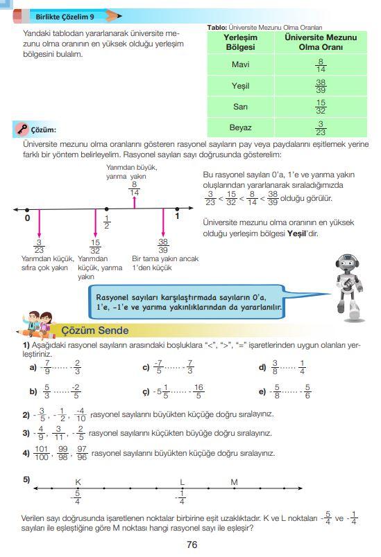 7. Sınıf Matematik Ders Kitabı Çözümleri ve Cevapları Sayfa 76 MEB Yayınları