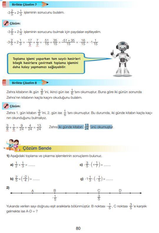 7. Sınıf Matematik Ders Kitabı Çözümleri ve Cevapları Sayfa 80 MEB Yayınları