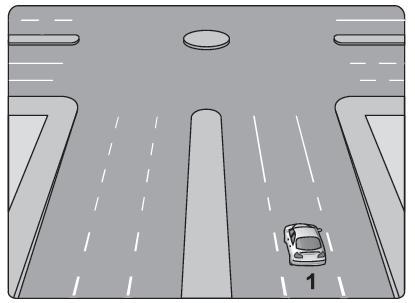 Sağa dönmek isteyen şekildeki 1 numaralı araç sürücüsü aşağıdaki işlemleri hangi sıra ile yapmalıdır