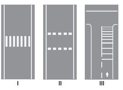 Taşıt yolları üzerine çizilen şekildeki yatay işaretlemelerden hangileri yaya geçidini gösterir