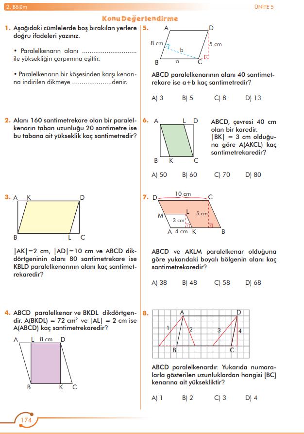 6. Sınıf Matematik Ders Kitabı Çözümleri ve Cevapları Sayfa 174 MEB Yayınları