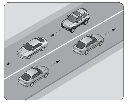 Şekildeki gibi devamlı çizgi bulunan kara yolu için aşağıdakilerden hangisi söylenemez
