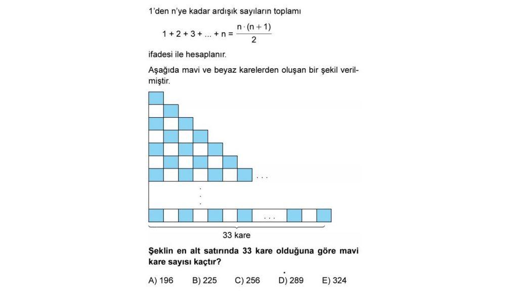 Şeklin en alt satırında 33 kare olduğuna göre mavi kare sayısı kaçtır
